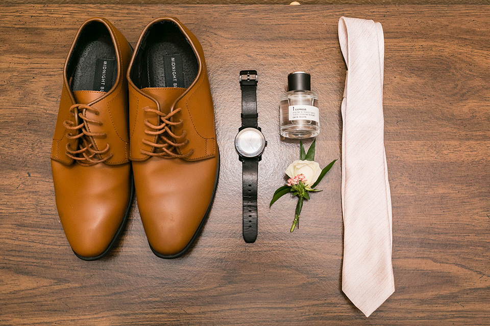 groom accessories with brown shoes and pink long tie