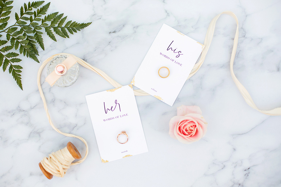 rings and white modern invitations