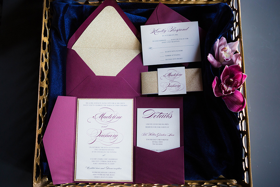 purple invitations with purple envelopes