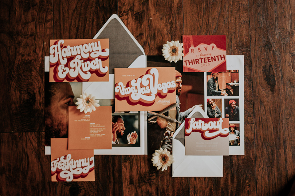 bohemian style invitations in gold and rust colors
