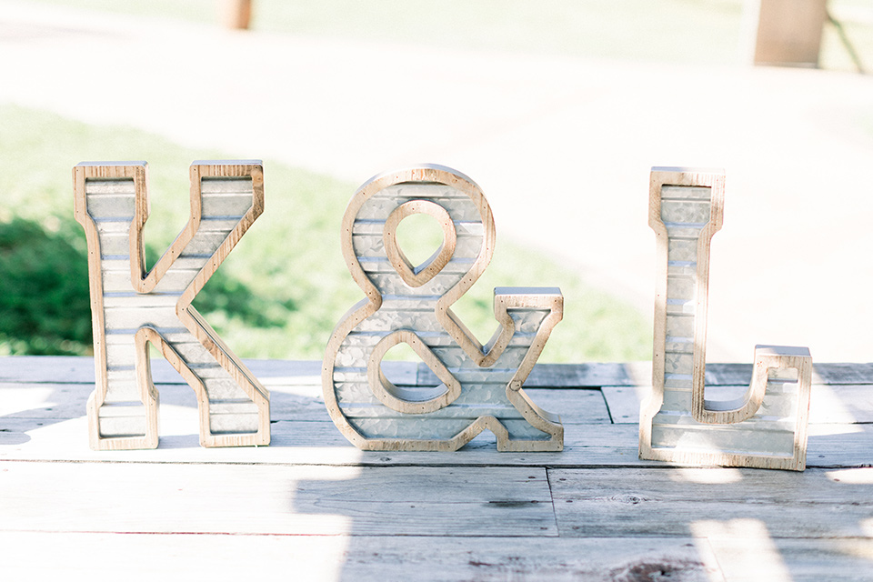 white table with couple initials on it