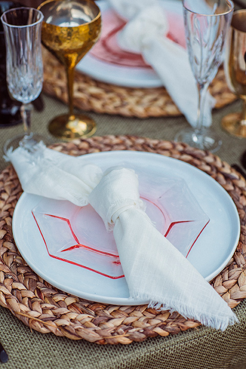 white napkins with pink details in a bohemian style