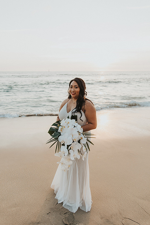 bride in a white lace gown
