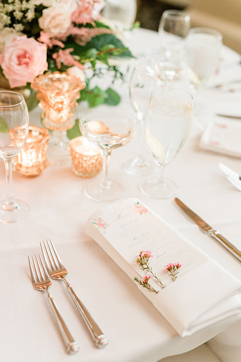 table with blush linens