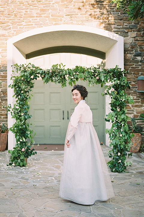 bride in traditional Korean wedding gown
