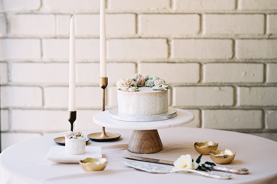 white cake with simple décor
