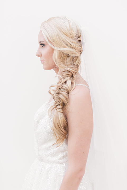 bride in a loose French braid