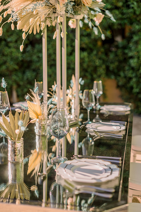 gold and white décor with boho flair