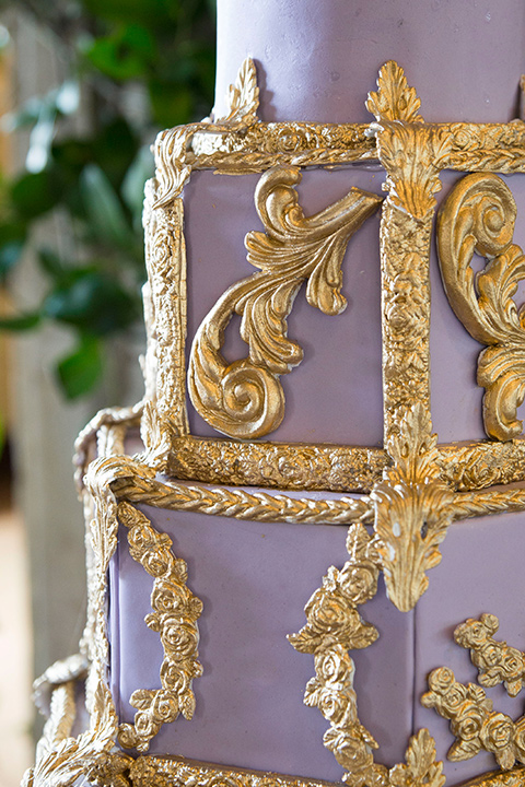 purple cake with gold detailing