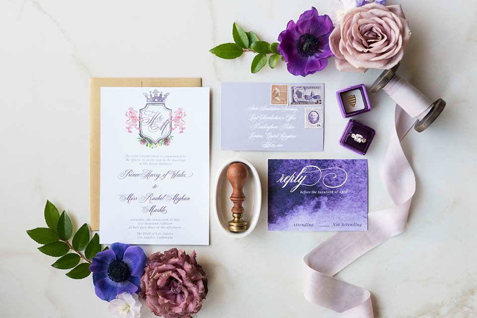 white invitations with purple details