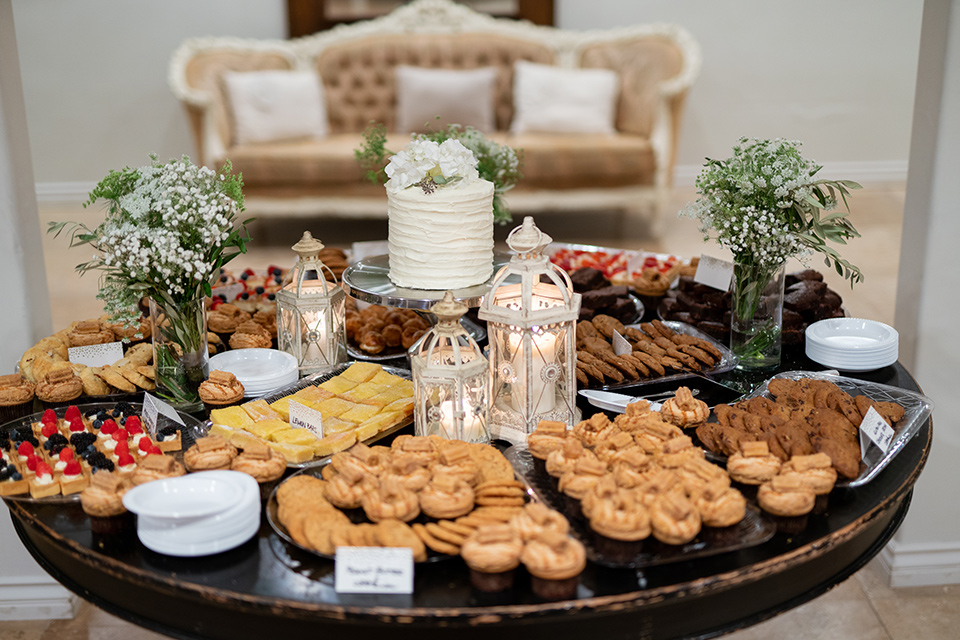 dessert table with all kinds of snacks