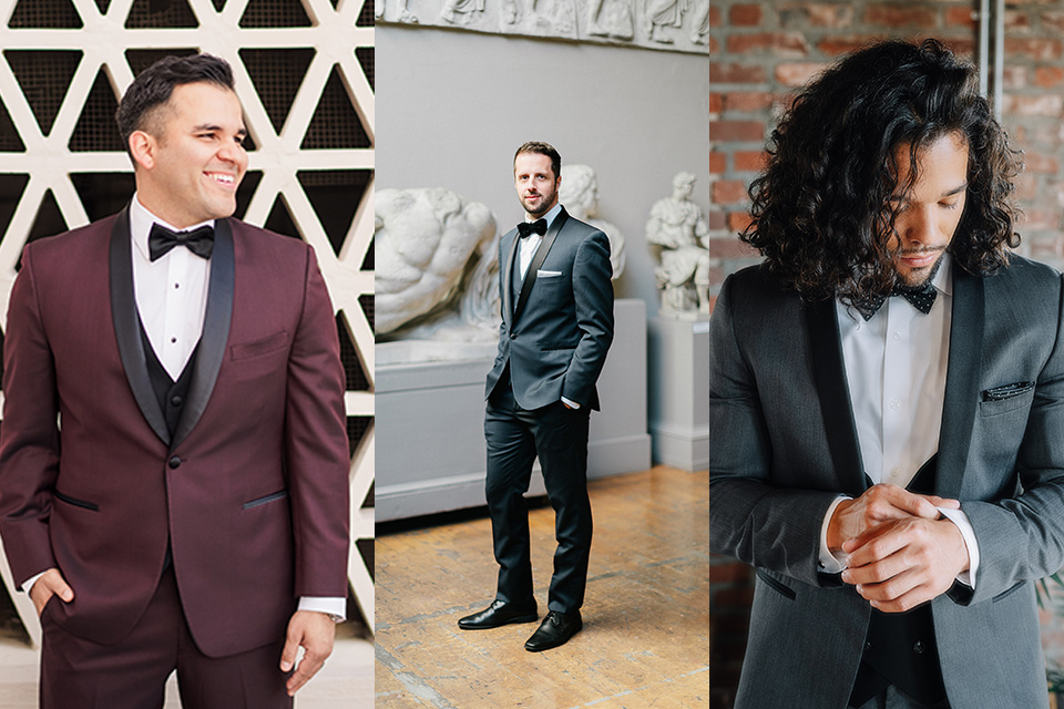 colorful shawl lapel tuxedos in burgundy grey and navy blue