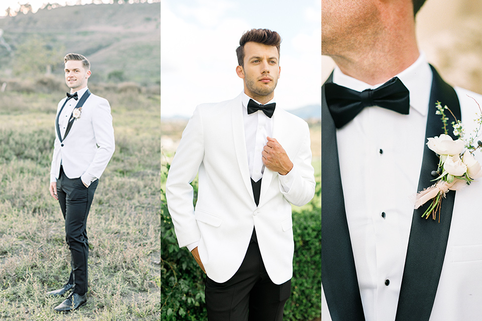 white shawl lapel tuxedo and dinner jacket