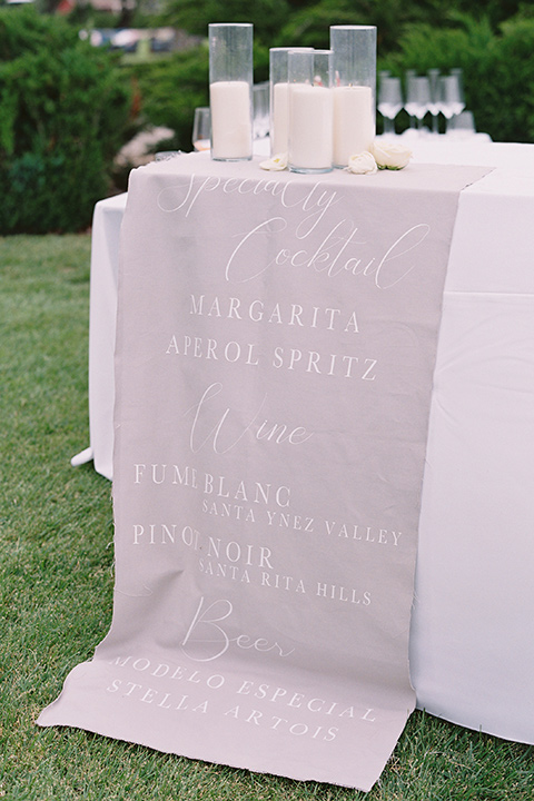 white table linens with candles