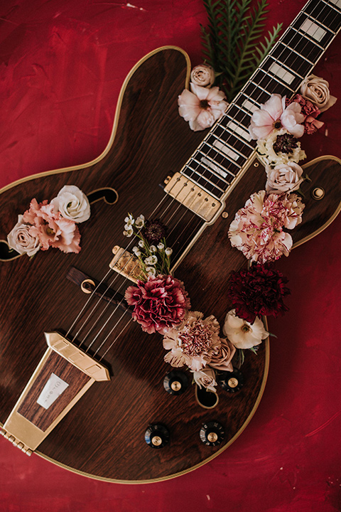 guitar with flowers on it