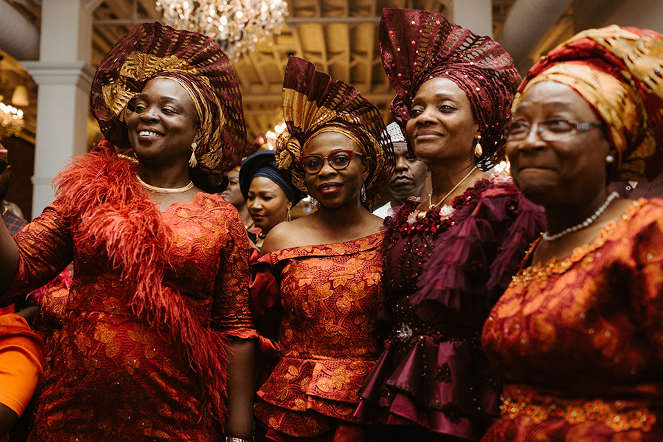 women in traditional African gowns and headdresses