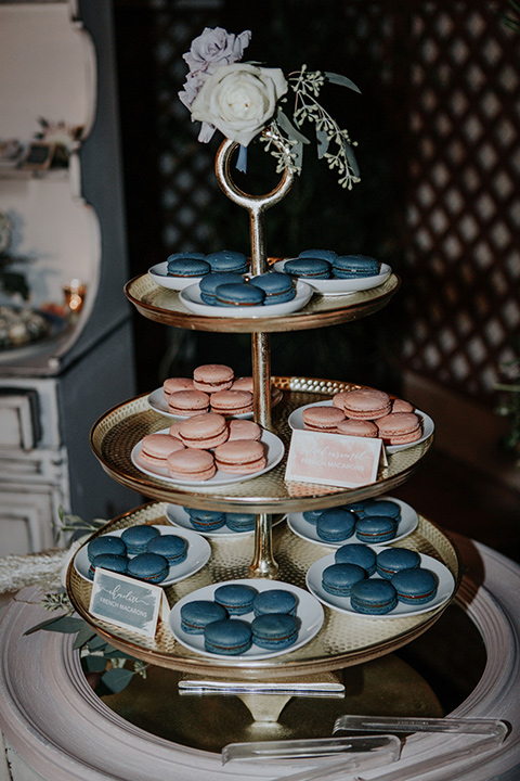 blue and pink macaroons