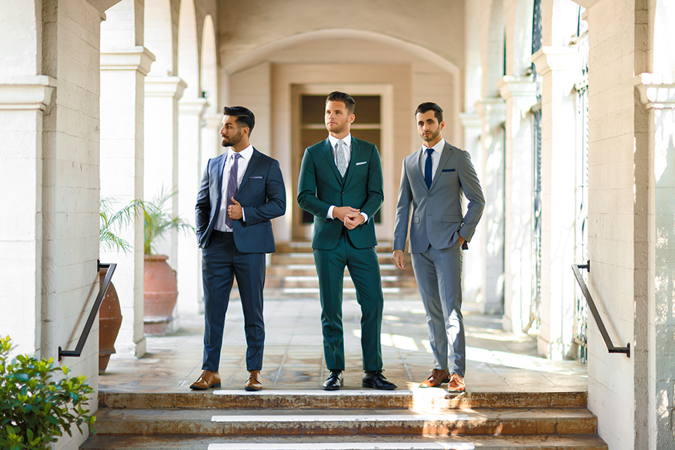 sky blue suit, steel blue suit, charcoal suit, dark blue suit, and green suit