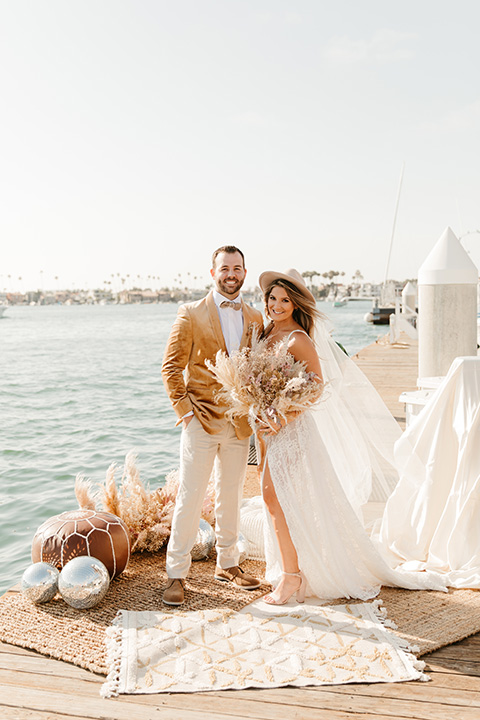 1970s golden hour boat elopement – couple at ceremony