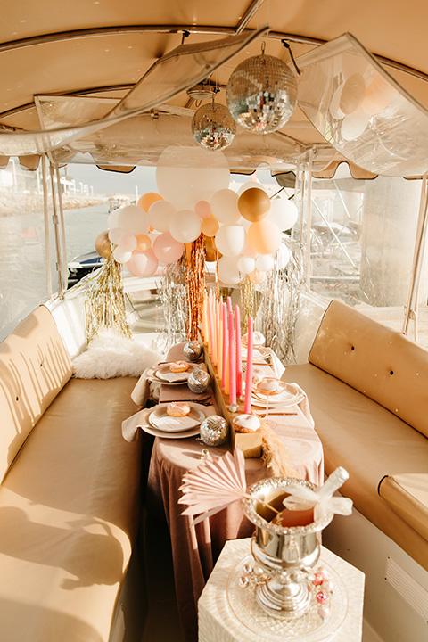 1970s golden hour boat elopement – decor