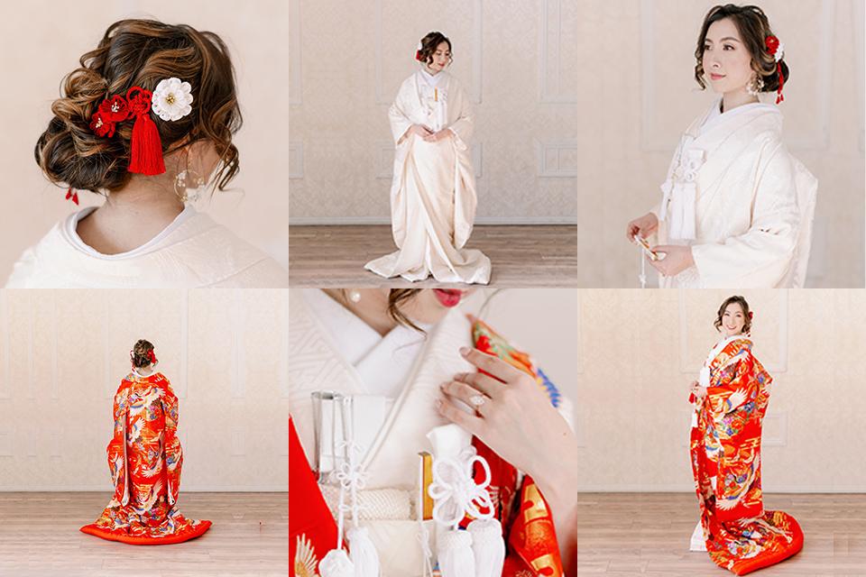 bride in Japanese bridal wedding attire