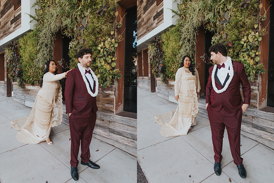 bride in a golden Burmese gown and groom in a burgundy shawl tuxedo