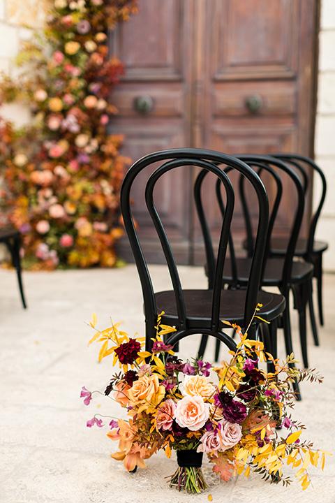 old world wedding at Allegretto Vineyard Resort – chairs and florals