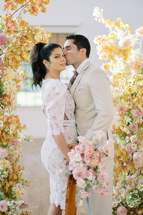 building 177 romantic coral wedding – rehearsal dinner look at ceremony