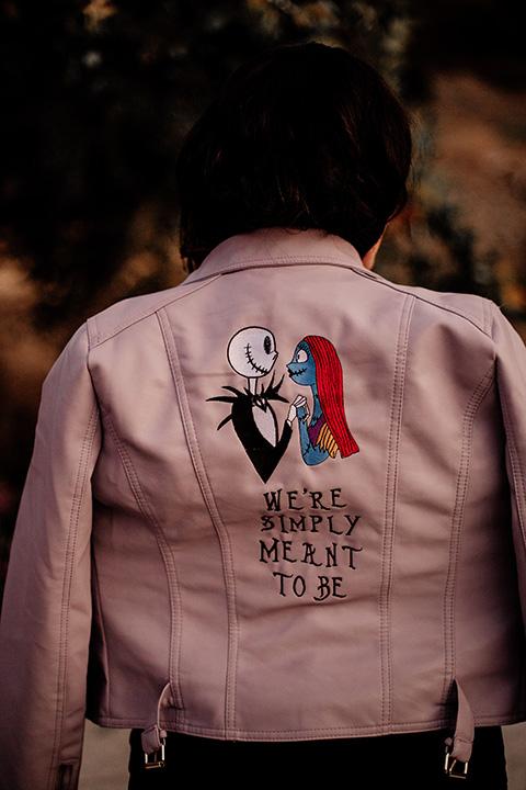 bridal pink leather coat