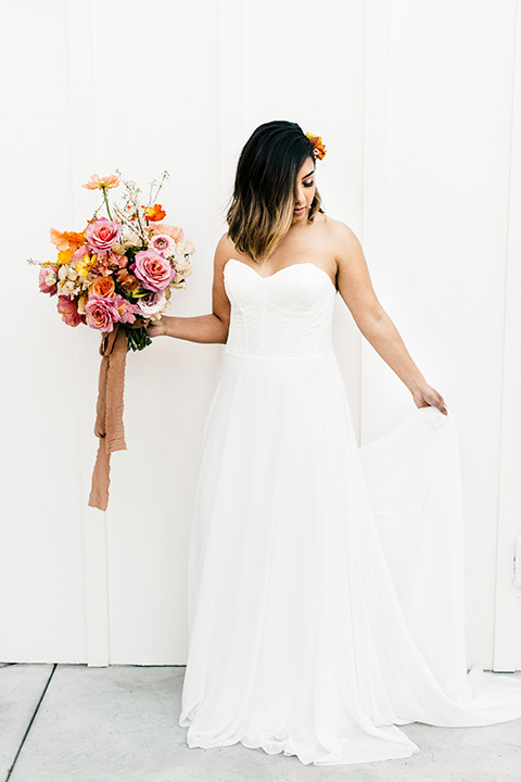 bride in a white strapless gown