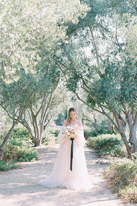 bride in a blush gown with off the shoulder sleeves