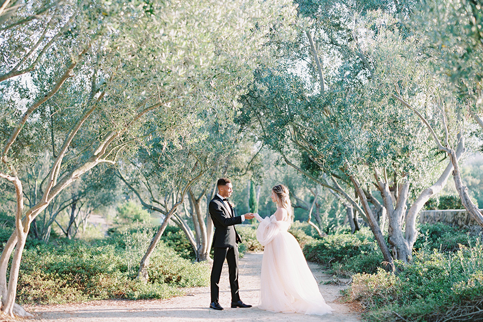 bride in a blush gown with off the shoulder sleeves and the groom in a black notch lapel tuxedo and black bow tie