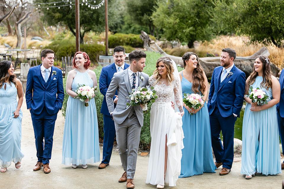 garden California floral wedding – group walking