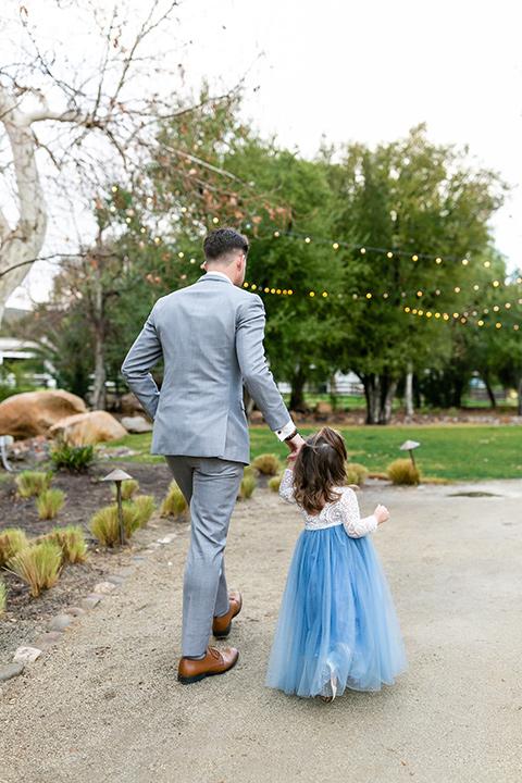 blue and red rustic garden wedding – groom + daughter