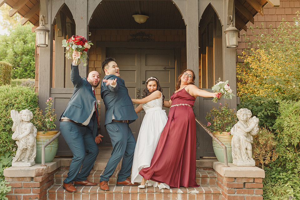 red and blue farmhouse wedding – bridal party