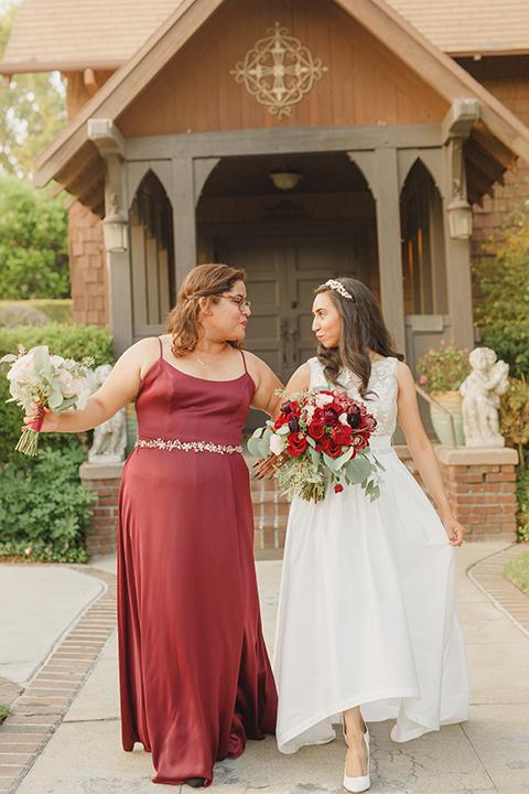red and blue farmhouse wedding – bridesmaid