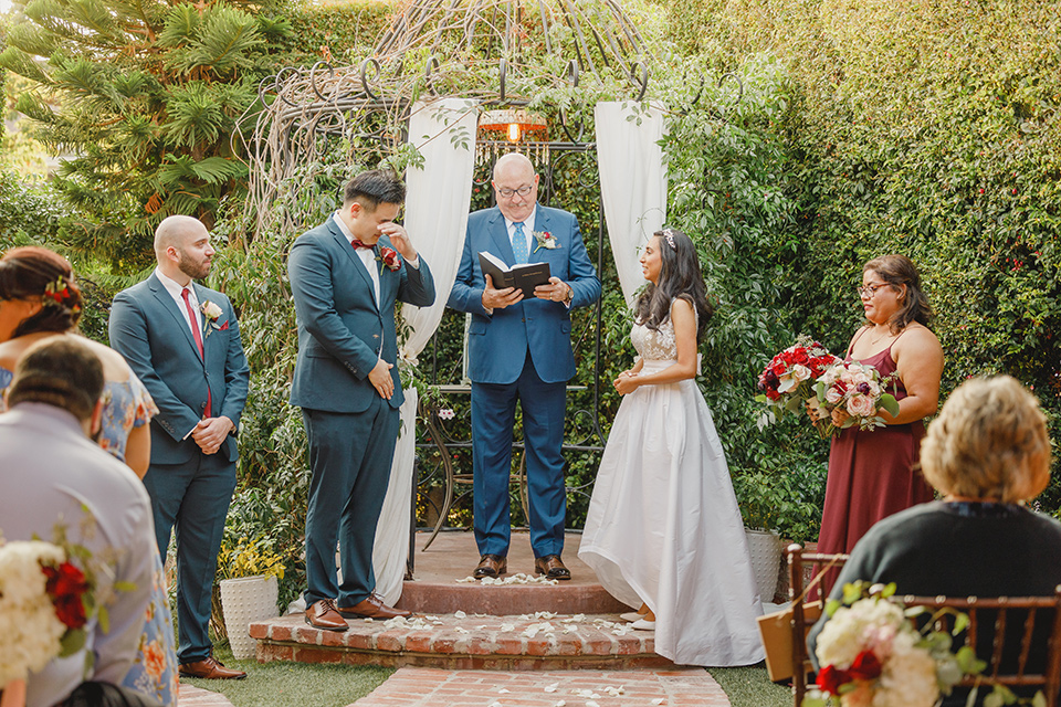 red and blue farmhouse wedding – ceremony