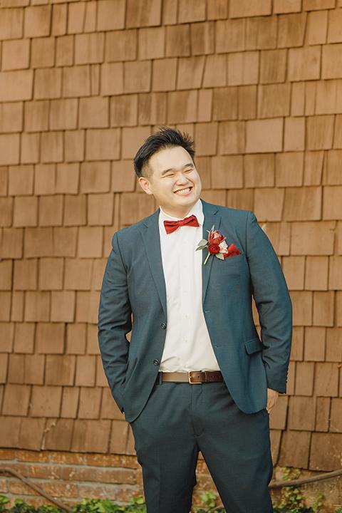red and blue farmhouse wedding – groom