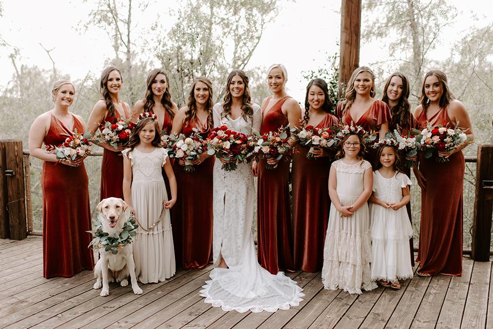 bohemian orange wedding – bridesmaids