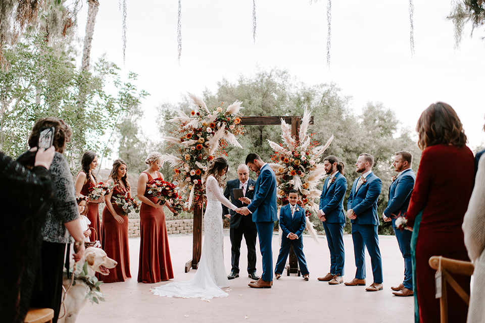 bohemian orange wedding – ceremony