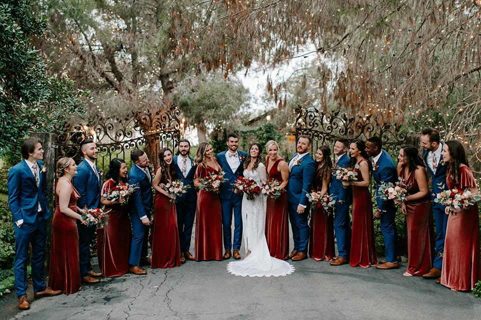 bohemian orange wedding – group shot