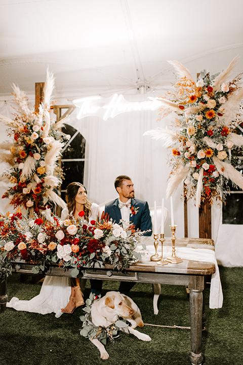 bohemian orange wedding – sweetheart table